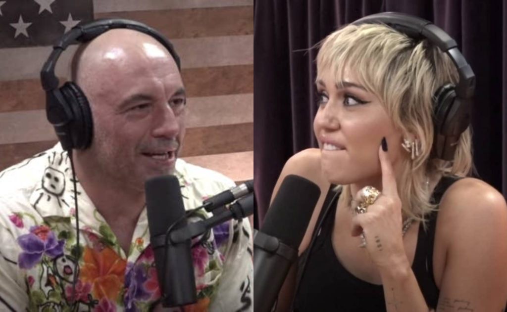 Miley Cyrus (R) had the perfect clapback to Joe Rogan's heterosexual nonsense. (Screen captures via Twitter)