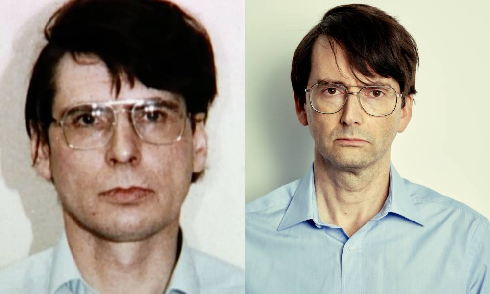 Dennis Nilsen and David Tennant side by side, wearing identical blue shirts and glasses