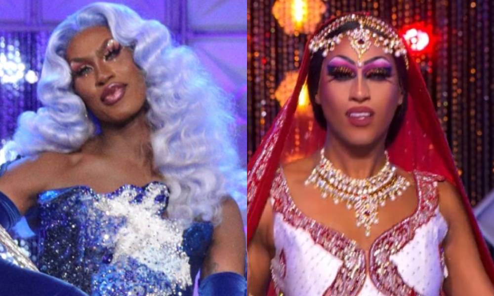 Shea Couleé and Priyanka in their respective Drag Race finales. Shea is wearing a blue sequinned gown and blue hair, Priyanka is in a red and white lehenga