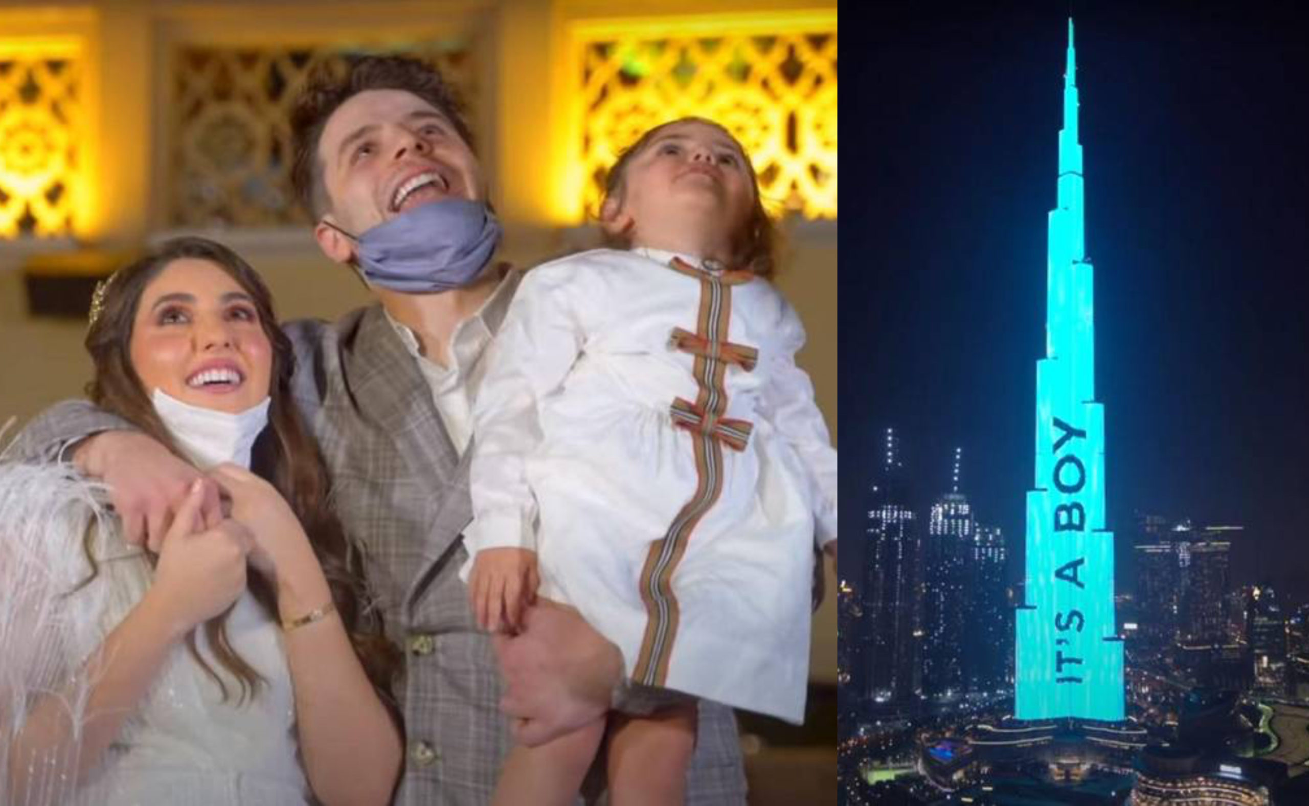 Anas and Asala Marwah staged an elaborate gender reveal party in Dubai, splashing the gender of their unborn baby onto the Burj Khalifa. (Screen captures via YouTube)