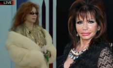 Jackie Stallone entering the Big Brother house in a fur coat and sunglasses
