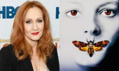 JK Rowling and the Silence of the Lambs poster, which is a tight crop of Jodie Foster, her face washed out, with a moth covering her mouth