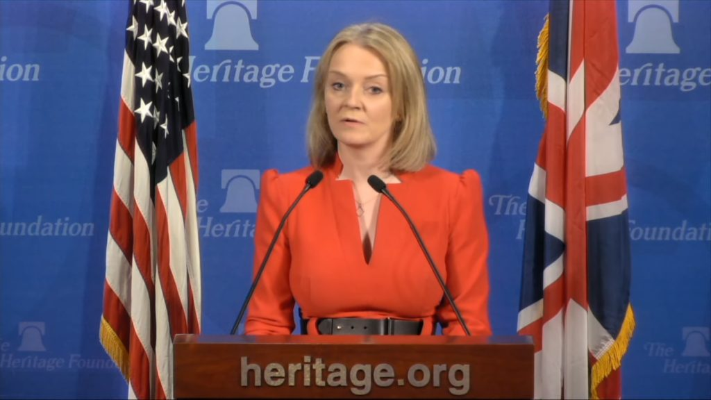Liz Truss lavished praise on the Heritage Foundation, the US conservative lobbying group that has led efforts to undermine LGBT+ rights.