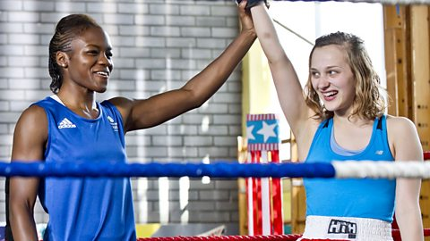 Nicola Adams in a boxing ring with a Waterloo Road character