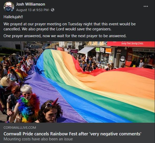 Pastor Joshua Williamson of Newquay Baptist Church celebrated the cancellation of Cornwall Pride
