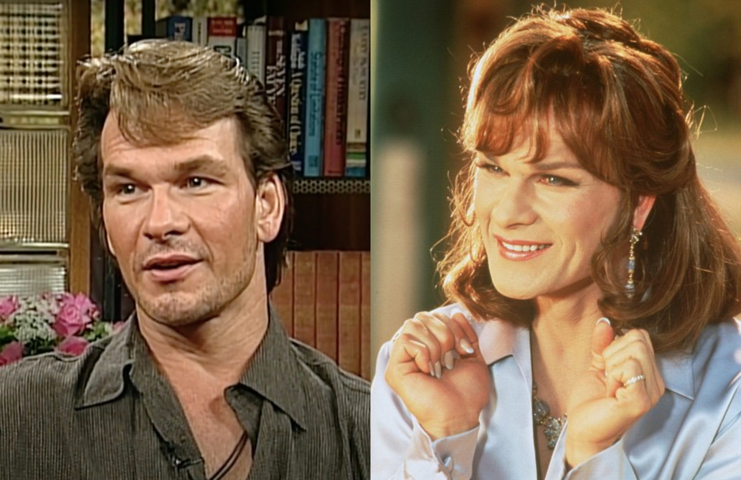 Patrick Swayze reflects on playing a drag queen in the film, To Wong Foo, Thanks for Everything! Julie Newmar. (Screen capture via YouTube/IMDb)