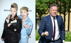 Jedward (L) sparred with Piers Morgan on trans rights. (Getty)