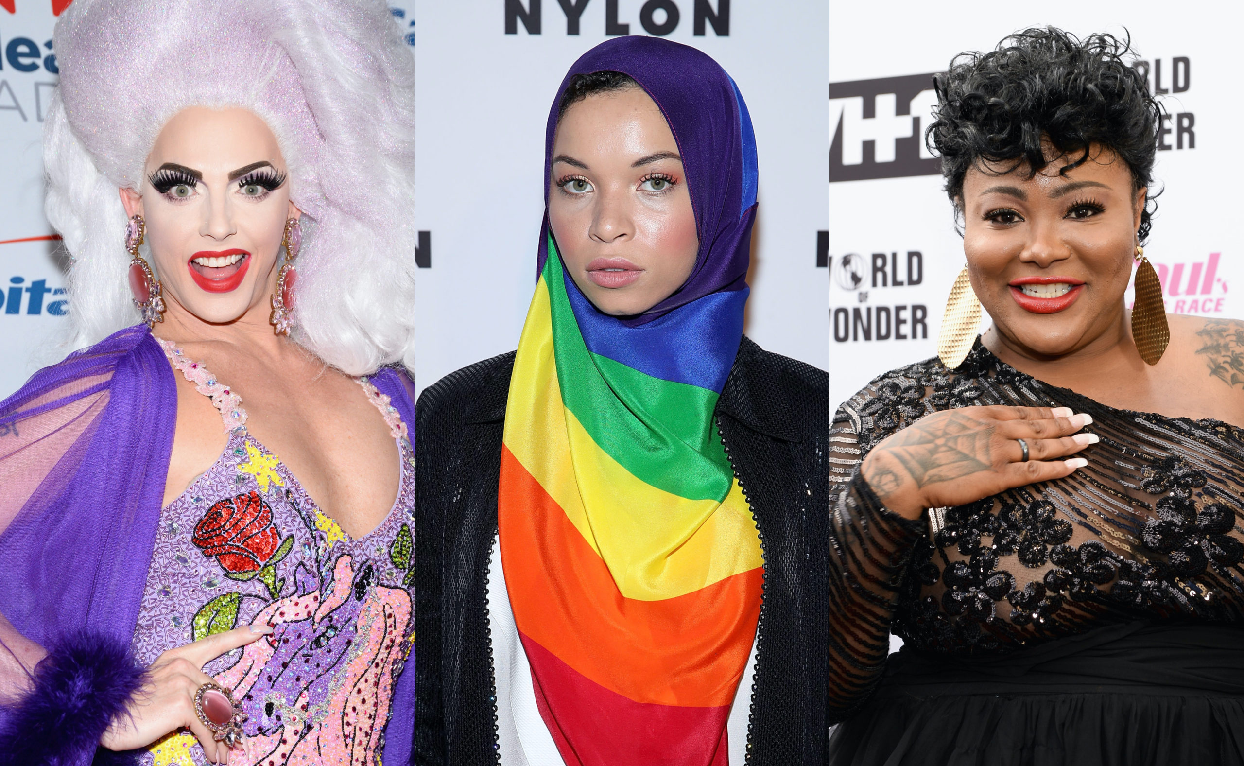 (From L-R) Drag Race legend Alyssa Edwards, Blair Imani and Ts Madison. (Getty)