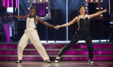 Nicola Adams and Katya Jones dancing together on Strictly
