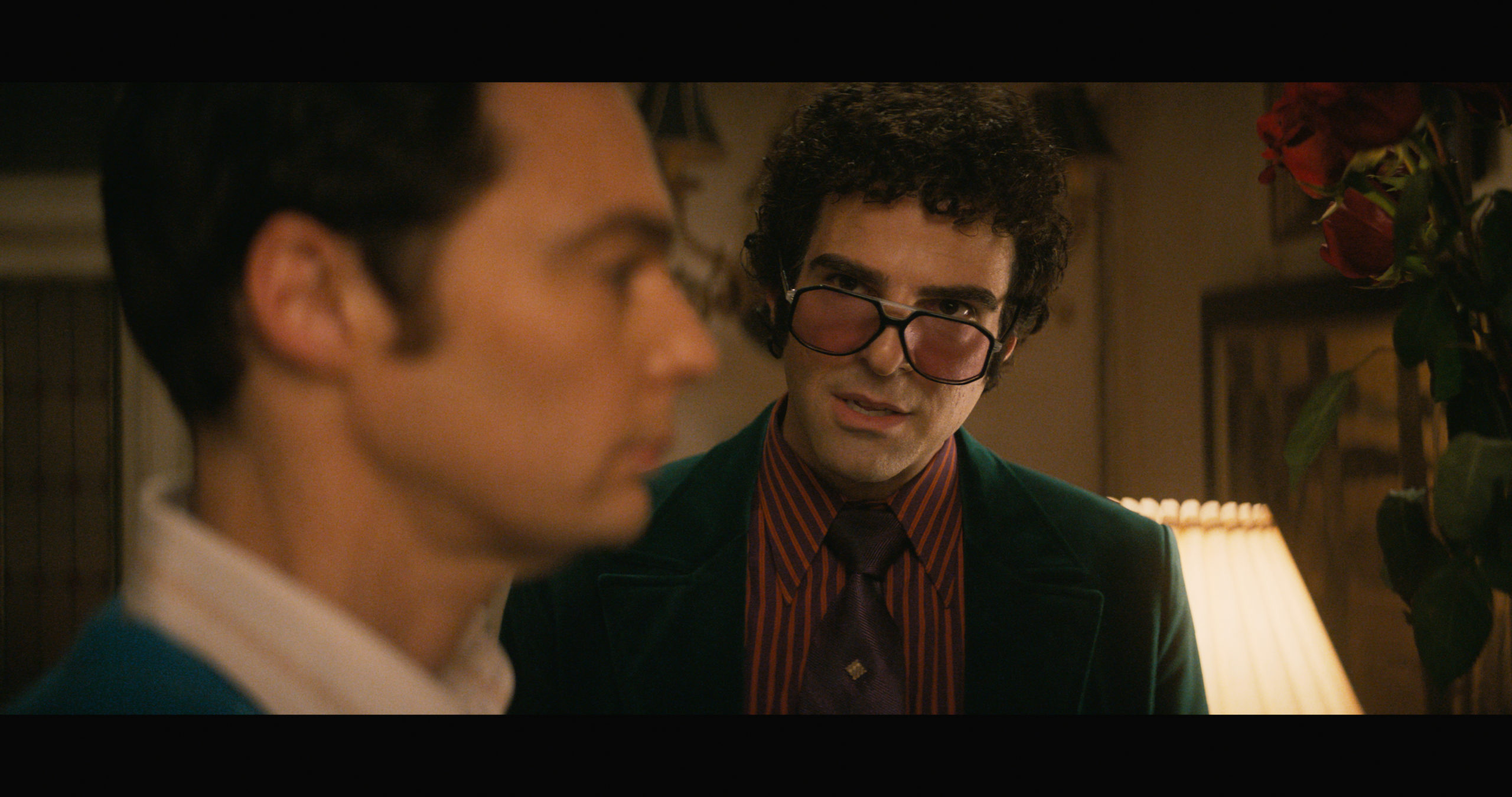 Jim Parsons as Michael and Zachary Quinto as Harold in The Boys in the Band.