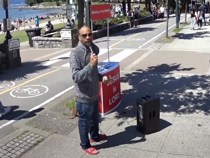 For two months, Dorre Love, an anti-gay street preacher, hurled homophobic 'hatred', a local resident claimed. (Screen capture via YouTube)