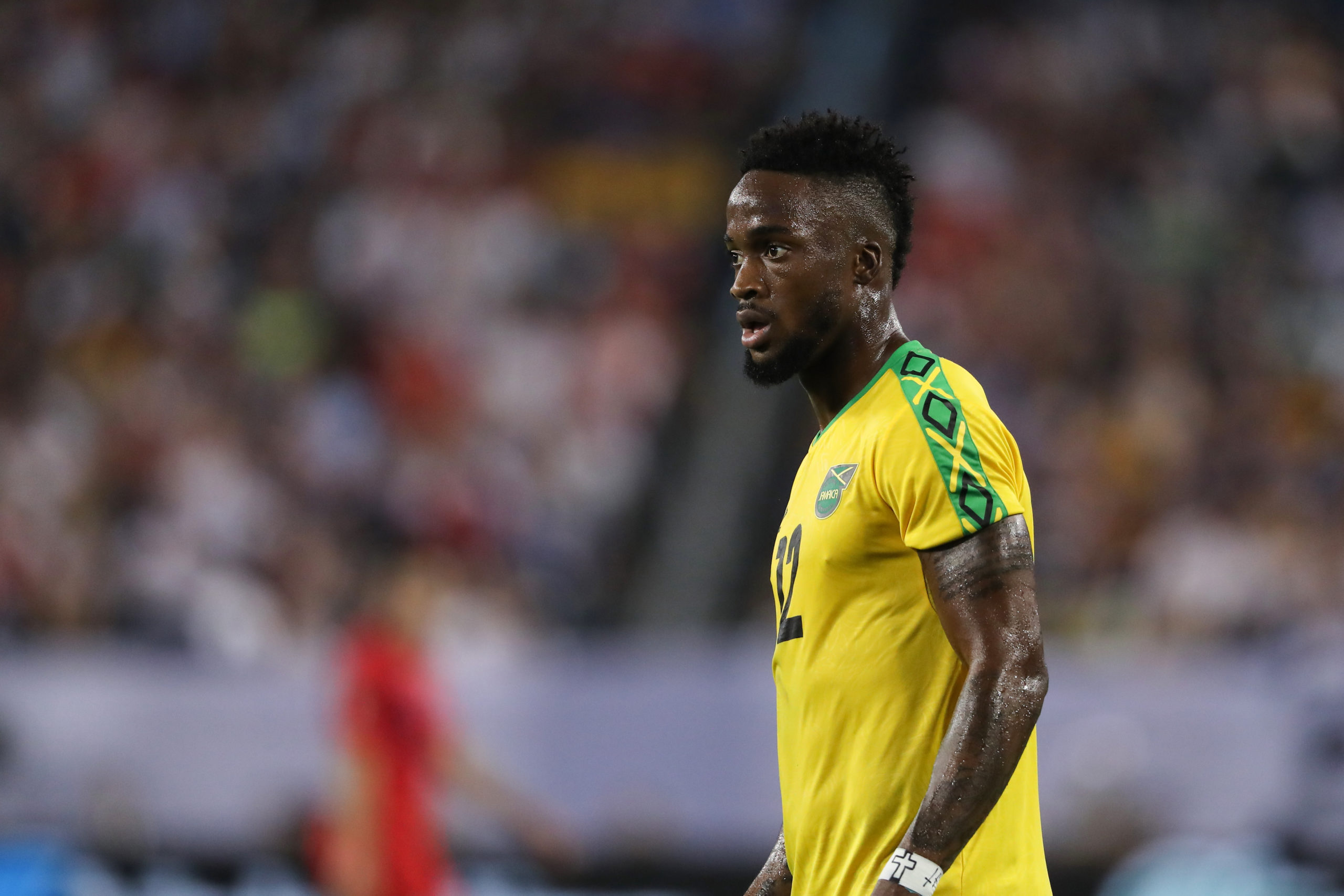 Junior Flemmings of Jamaica during the 2019 CONCACAF Gold Cup Semi Final between Jamaica and United States