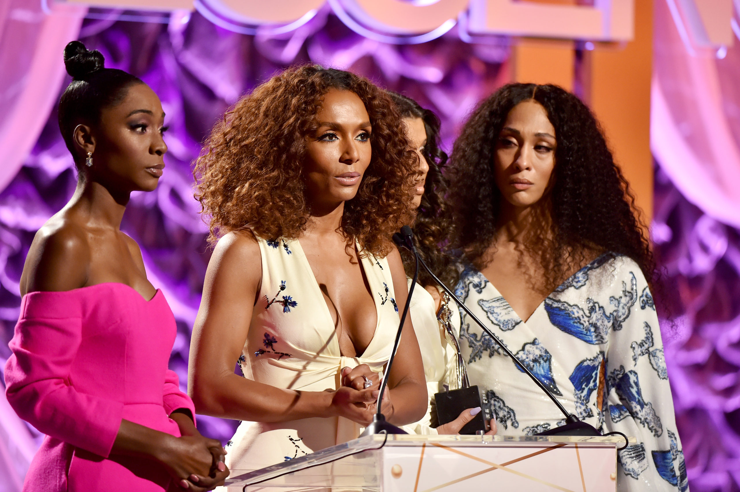 Pose cast and creatives Angelica Ross, Janet Mock, Hailie Sahar and Mj Rodriguez speak onstage during the 2020 13th Annual ESSENCE Black Women in Hollywood Luncheon