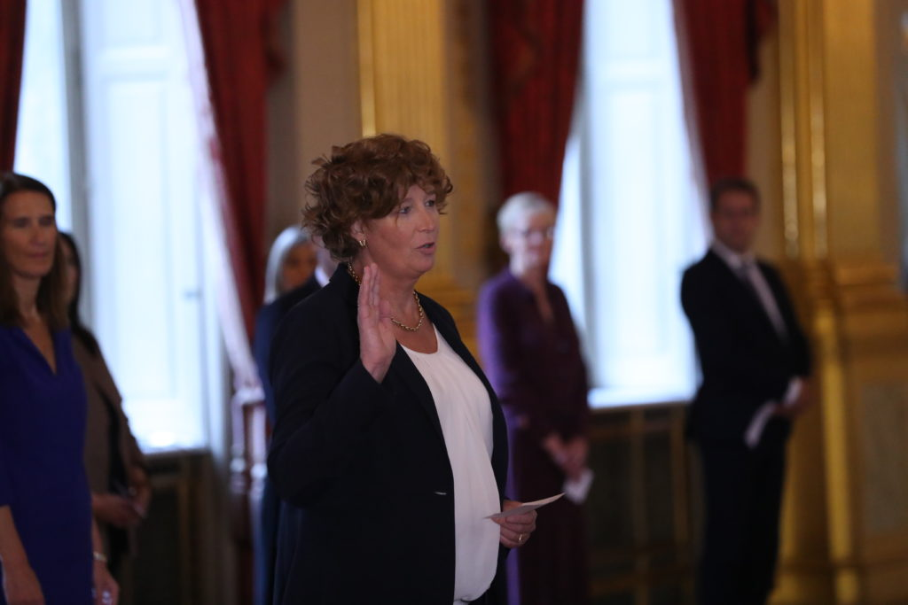 Deputy prime minister Petra De Sutter takes the oath before King Philippe of Belgium on Thursday