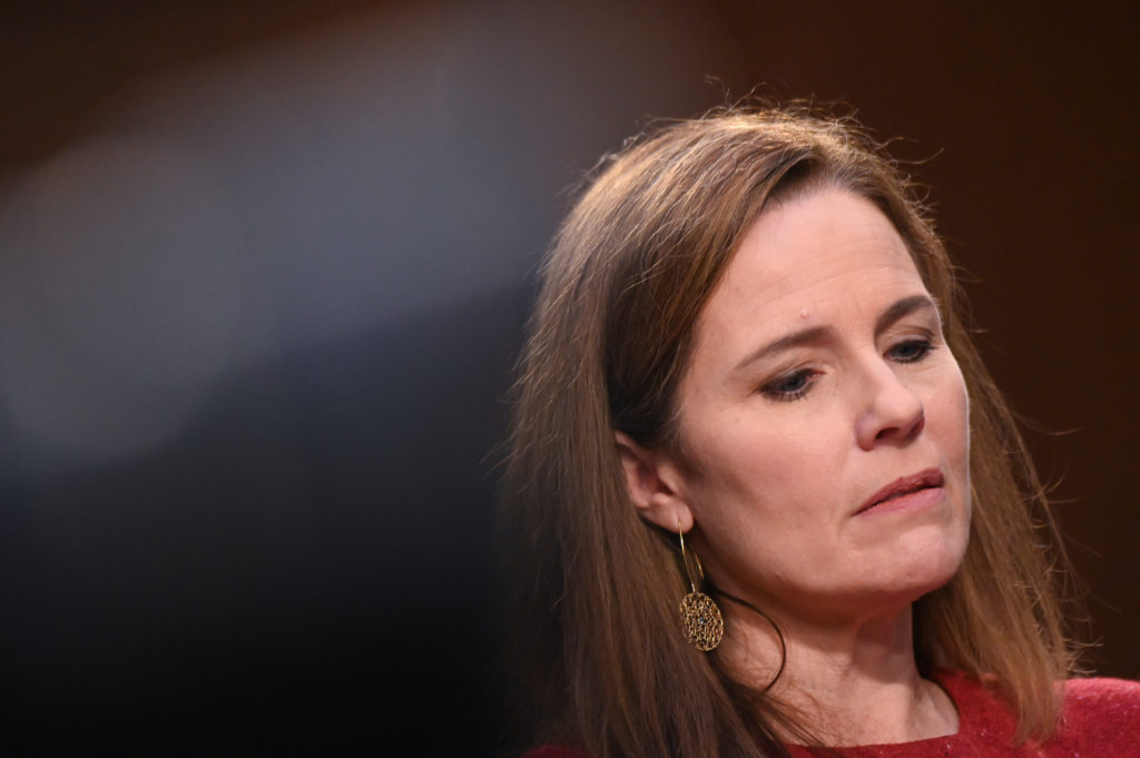 Amy Coney Barrett looks on during her Senate Judiciary Committee confirmation hearing
