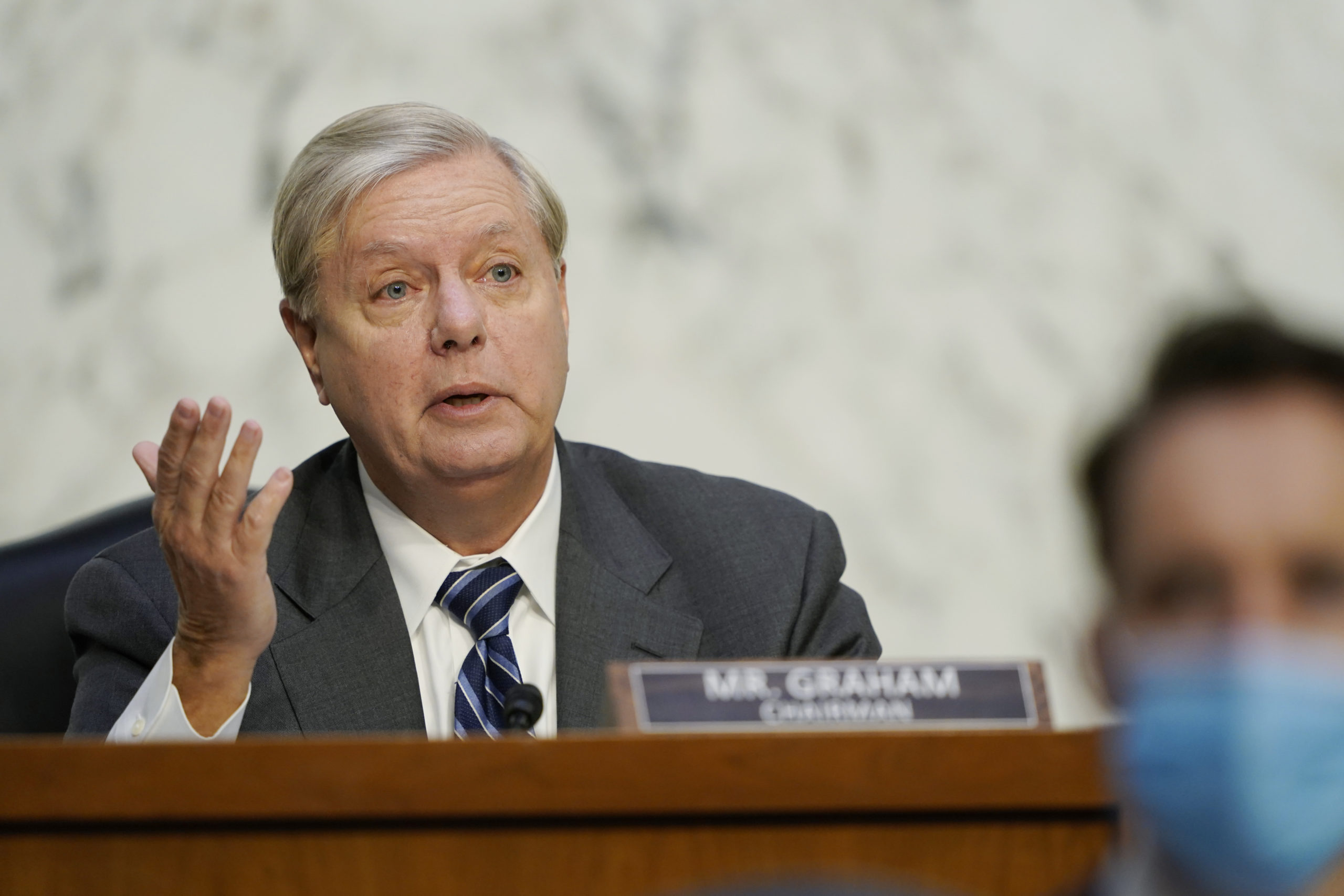 Chairman Sen. Lindsey Graham speaks as Supreme Court nominee Judge Amy Coney Barrett testifies before the Senate Judiciary Committee on the third day of her Supreme Court confirmation hearing on Capitol Hill on October 14, 2020 in Washington, DC.