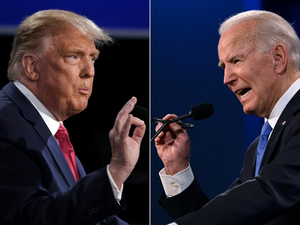 Joe Biden and Donald Trump's final sparring match saw LGBT+ rights once agains not spoken about. They haven't since 2008, a top monitoring group warns. (Brendan Smialowski and JIM WATSON / AFP) (Photo by BRENDAN SMIALOWSKI,JIM WATSON/AFP via Getty Images)