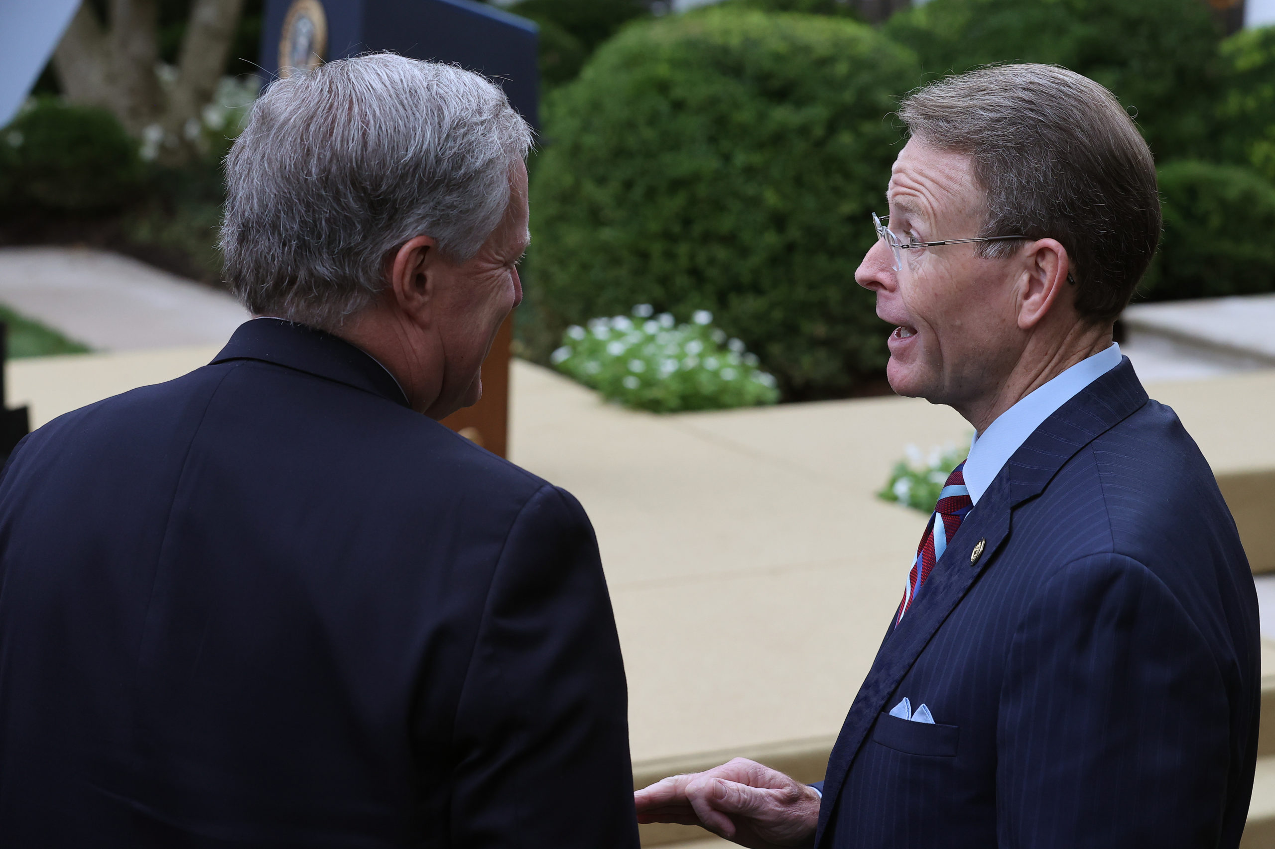 Family Research Council president Tony Perkins talks with White House Chief of Staff Mark Meadows after President Donald Trump introduced Supreme Court nominee Amy Coney Barrett in the Rose Garden at the White House on September 26, 2020