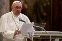 Pope Francis holds his speech during an International Prayer Meeting for Peace