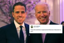 John Cardillo dubbed a photograph of Joe Biden kissing his son, Hunter, on the cheek as 'inappropriate'. (Getty/Twitter)