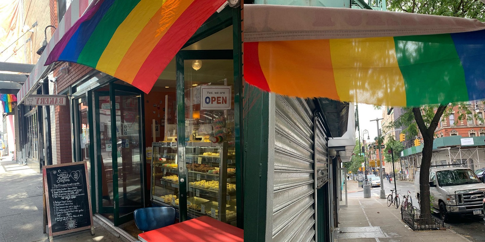 Vile thug mutilates LGBT-inclusive bakery's Pride flag with knife in 'disturbing' act of vandalism
