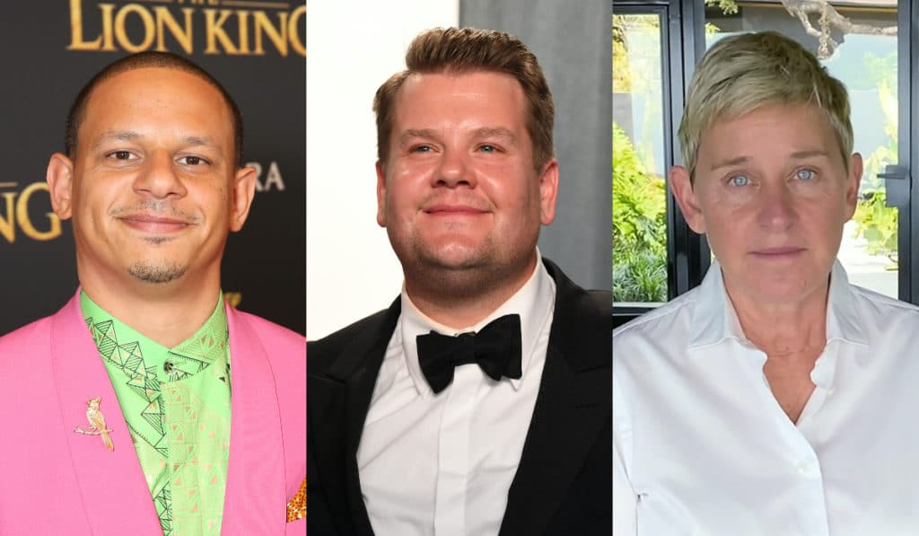(L-R) Eric Andre, James Corden and Ellen DeGeneres. (Getty)