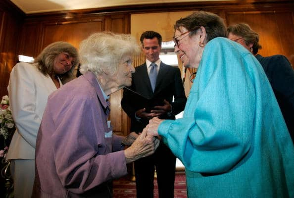 Del Martin (L) and Phyllis Lyon (R). (Marcio Jose Sanchez/AFP via Getty Images)