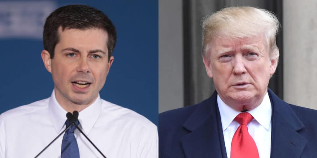 Pete Buttigieg (L) launched an attack against Donald Trump for claiming he's done 'more for the Black community than anyone else'. (Getty)