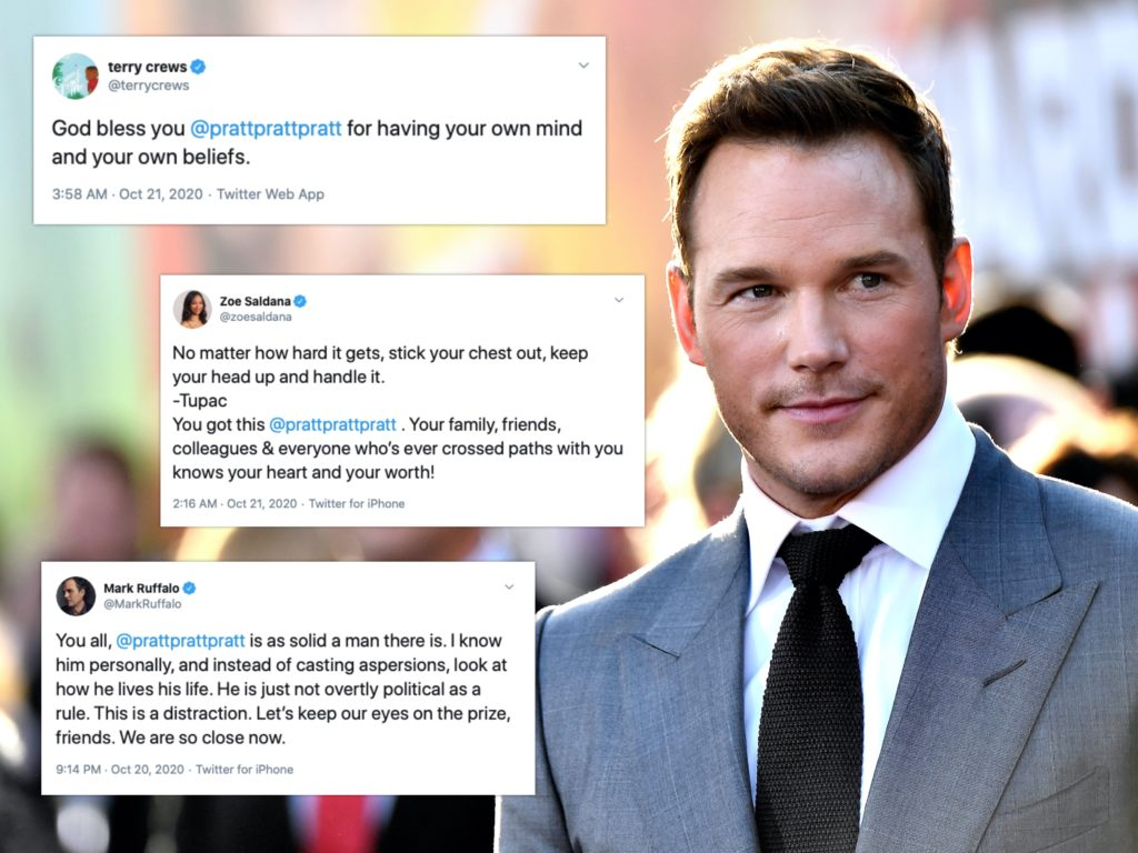 Chris Pratt received the support of countless co-stars after being dubbed the 'worst Chris' in Hollywood. (Getty/Twitter)