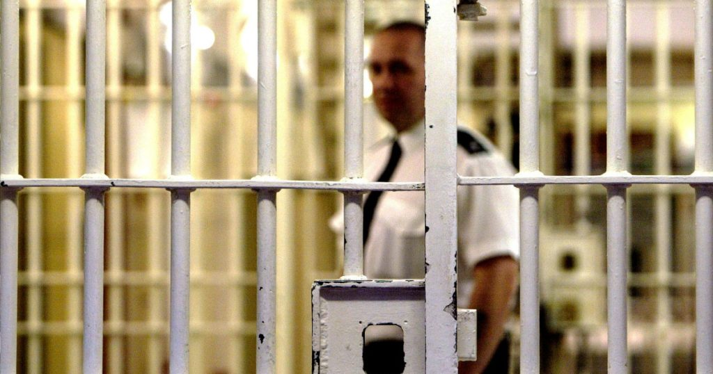 Stock photograph of a prison warden outside jail cell bars