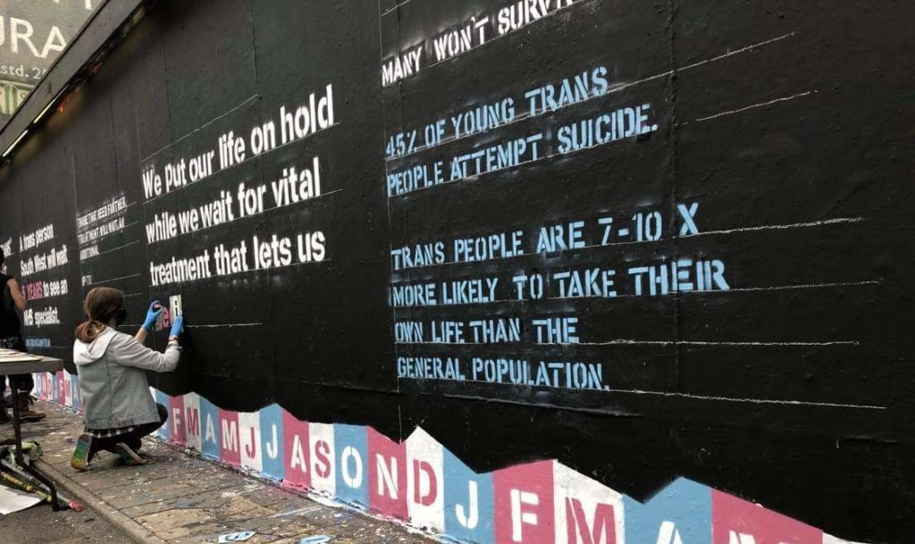 Mural highlights shocking reality of trans healthcare in the UK
