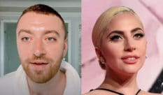 Sam smith (L) has credited Lady Gaga as one of the reasons they came out as non-binary. (Screen capture via YouTube/Getty)