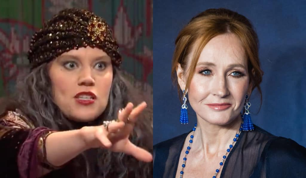 Kate McKinnon dressed as a fortune teller in the year 2019 to make a jab against JK Rowling. (Screen capture via YouTube/Getty)