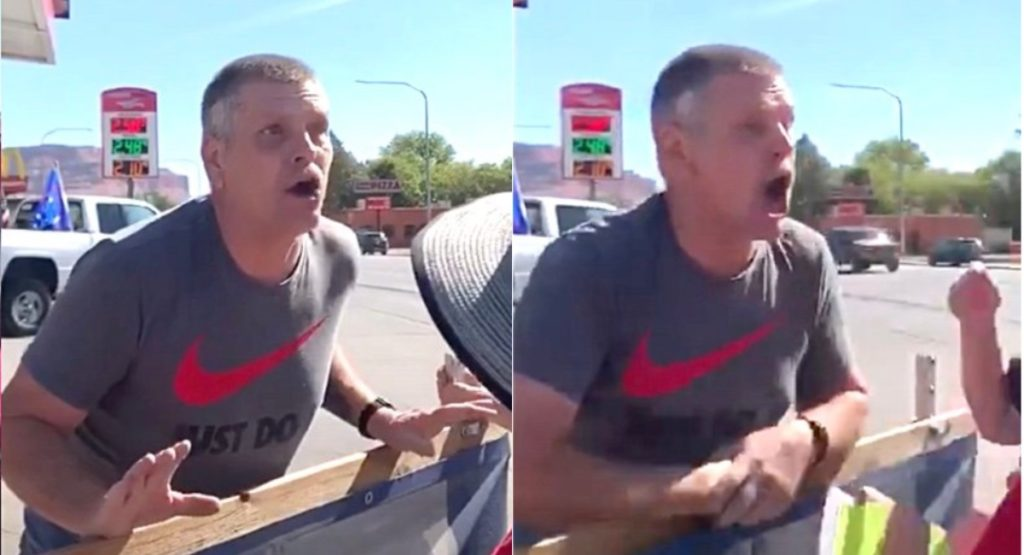 Robert Brissette, an ardent Trump support, coughed at Black Lives Matter protesters while hurling homophobic insults. (Screen captures via YouTube)