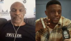 Mike Tyson (L) revealed that it was his daughter the insured him to grill Boosie Badazz over his transphobic comments. (Screenshot via TMX / YouTube / Baller Alert)