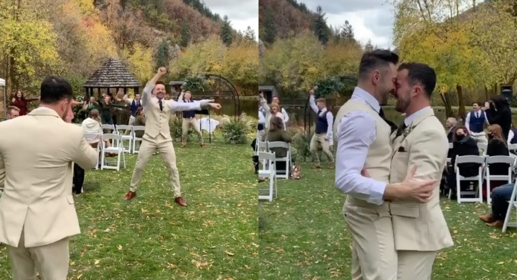 Brock Dalgleish, a fitness instructor, staged a flash mob for his partner, massage therapistRiley Jay, to the tune of 'Stupid Love' during their wedding. (Screen captures via Instagram)
