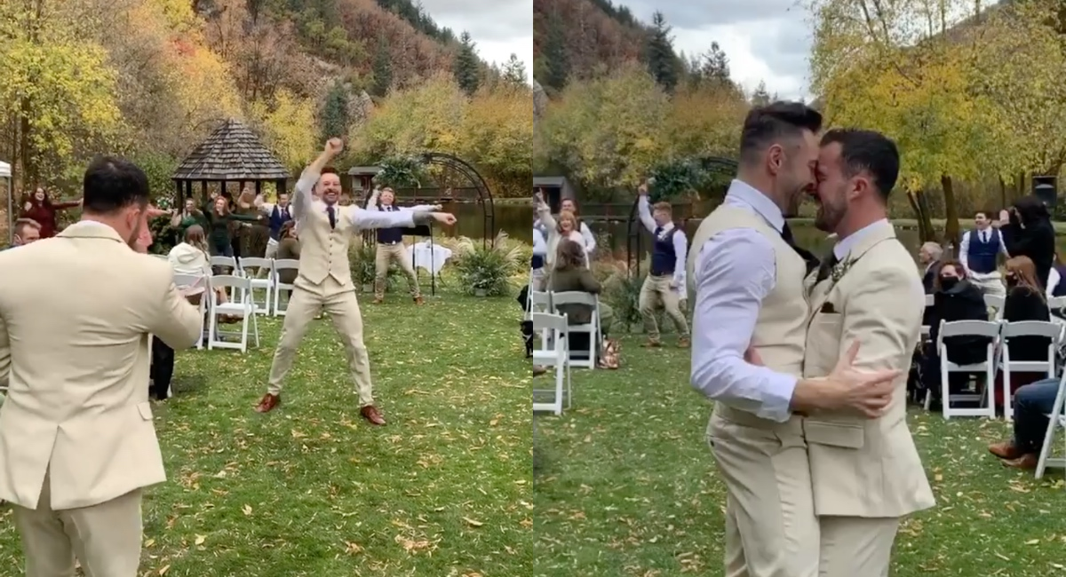 Brock Dalgleish, a fitness instructor, staged a flash mob for his partner, massage therapist Riley Jay, to the tune of 'Stupid Love' during their wedding. (Screen captures via Instagram)