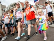 People take part during the Pride Walk, in Amsterdam, Netherlands. (Romy Arroyo Fernandez/NurPhoto via Getty Images)