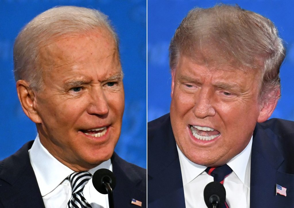 Presidential candidate and former US Vice President Joe Biden and US President Donald Trump