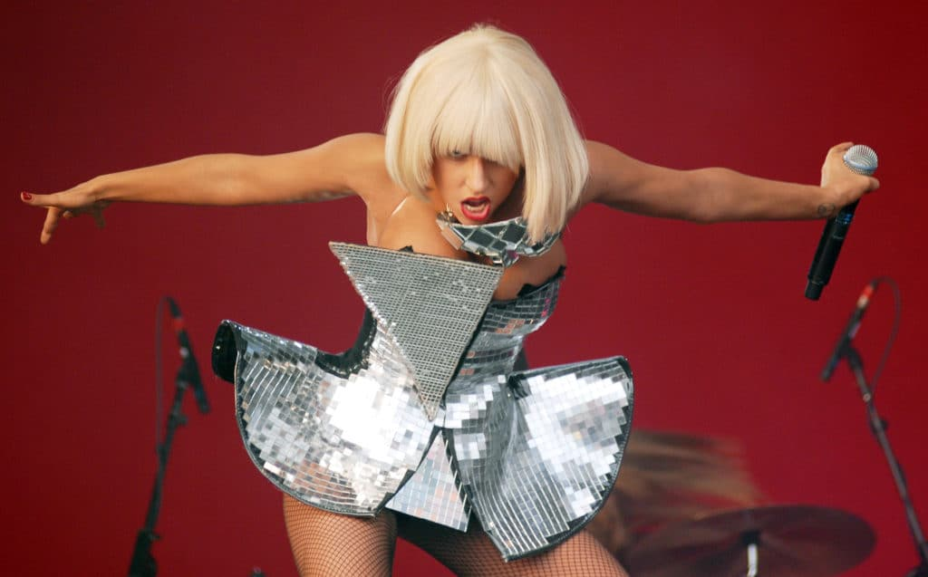 Lady Gaga performs on the Other stage on day 2 of Glastonbury Festival at Worthy Farm on June 26, 2009 in Glastonbury, England. (Tabatha Fireman/Redferns)