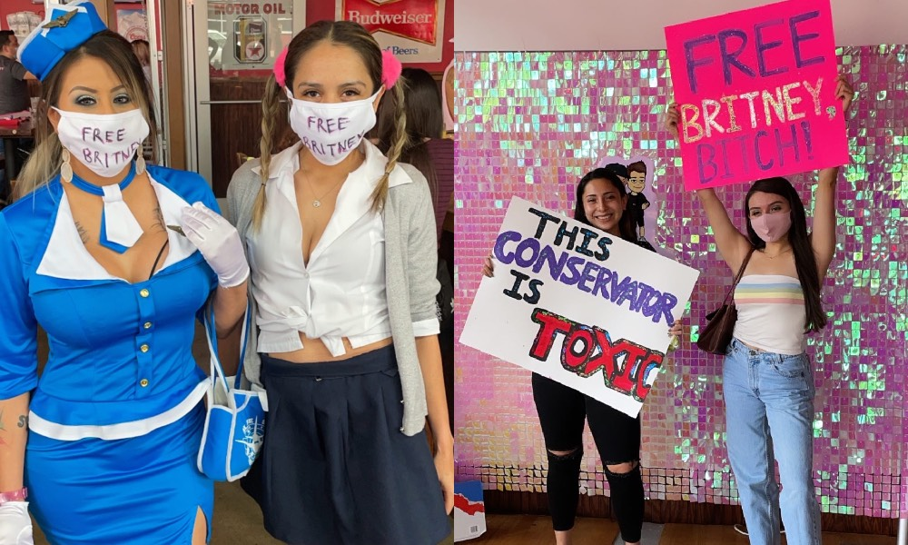 Fans dressed in Britney's Toxic flight attendant outfit and Hit Me Baby schoolgirls outfit