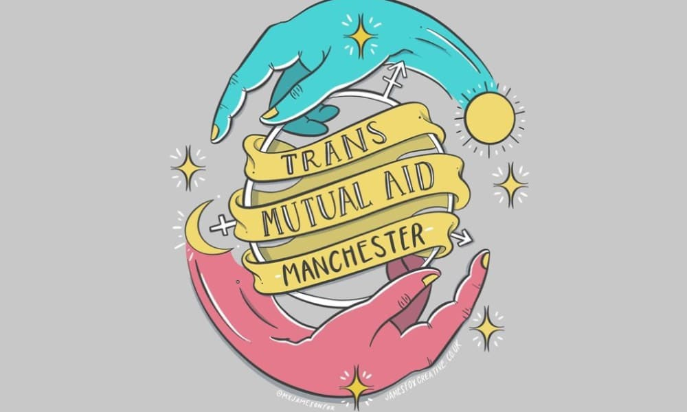 Illustration of two hands forming a circle with the words 'Trans Mutual Aid Manchester' in the middle
