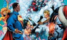 Superheroes including Superman and Wonderwoman in a cloud of snow
