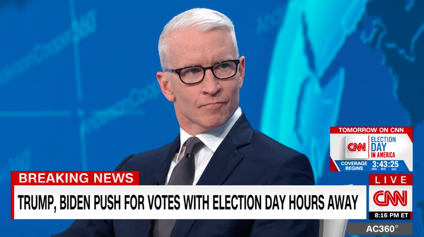 With tension rising and only hours before election day, Anderson Cooper tore into Donald Trump's playbook of voter suppression. (Screen capture via CNN)