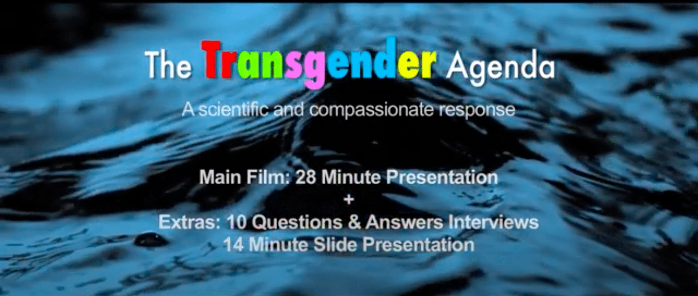 Lobbyists at a religious group have mailed a DVD documentary packed with anti-trans dogwhistles and claims not grounded in science, activists warn. (Screen capture via YouTube)