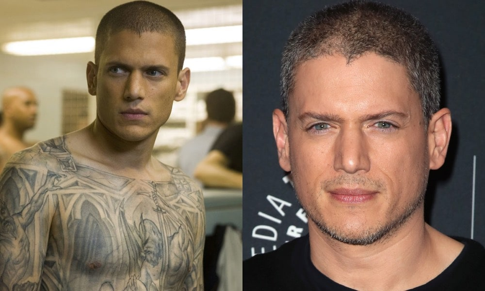 Wentworth Miller in Prison Break with a tattooed torso