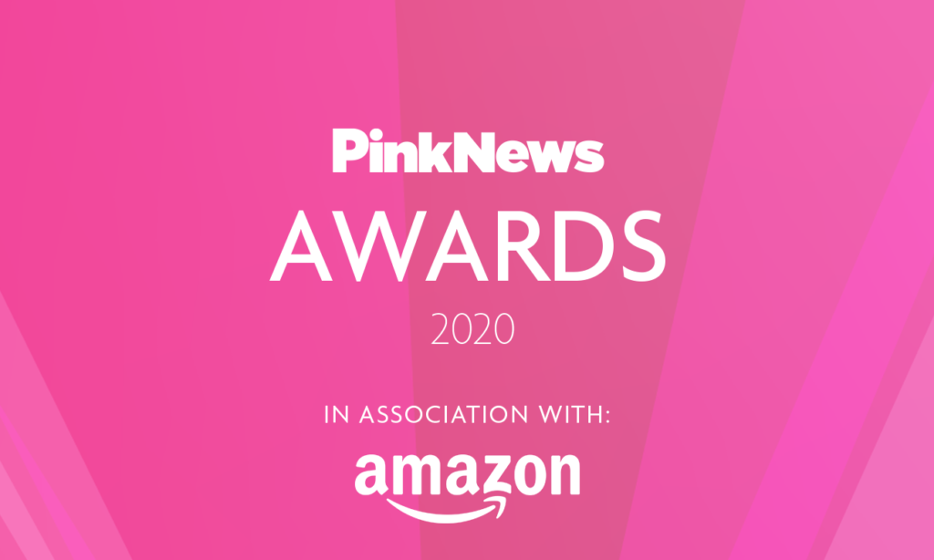 Text reading: PinkNews Awards 2020 in association with Amazon