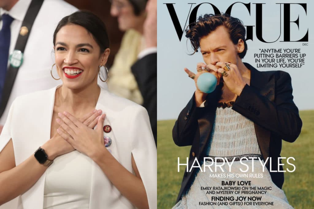 Alexandria Ocasio-Cortez (L) defended Harry Styles' American Vogue cover. (Don Emmert /AFP/Getty/Condé Nast)