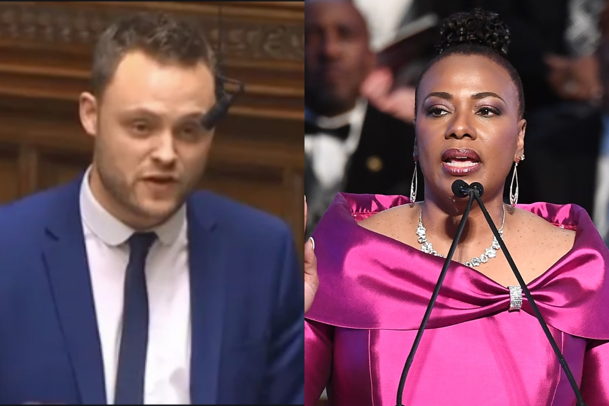 Ben Bradley (L), a British MP, was schooled by none other than Martin Luther King Jr.'s daughter, Bernice King. (Twitter/Getty)