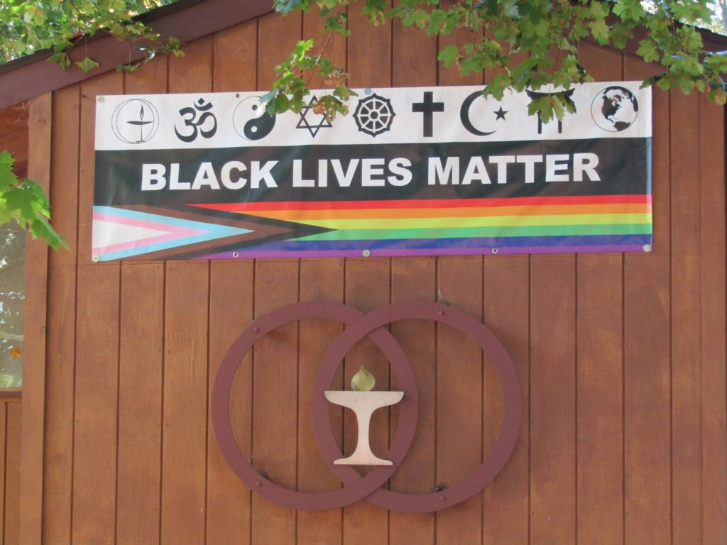 The Unitarian Universalist Church in Utica, upstate New York, spoke out after its banners were repeatedly vandalised